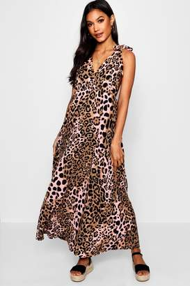 boohoo Plunge Front Leopard Maxi Dress