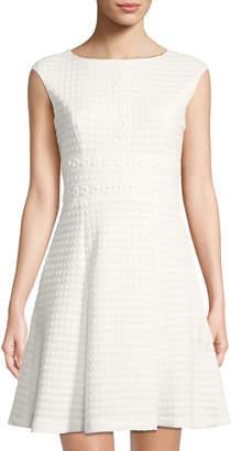 London Times Matelasse Fit & Flare Dress