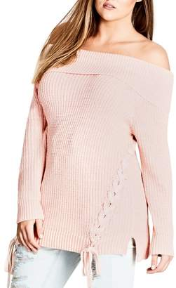 City Chic Intertwine Convertible Lace-Up Pullover