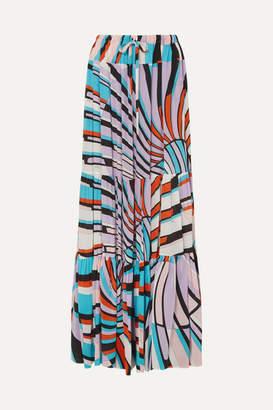 Emilio Pucci Printed Silk Crepe De Chine Maxi Skirt - Lilac
