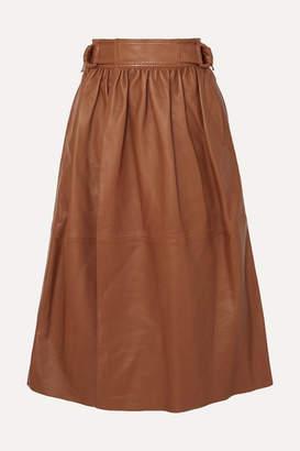 Joseph Betty Gathered Leather Wrap Midi Skirt - Brown
