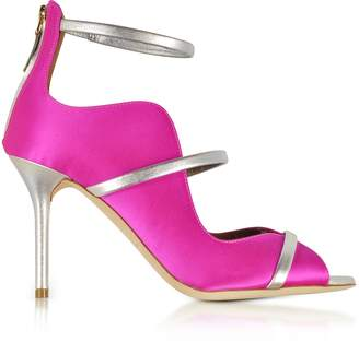 Malone Souliers By Roy Luwolt Mika 85 Fuchsia Satin and Metallic Leather High Heel Sandals