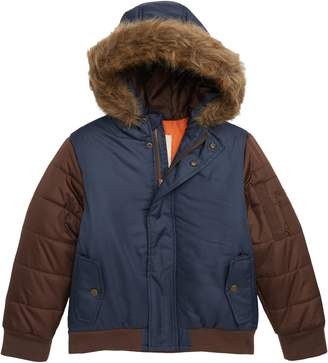 Tucker + Tate Colorblock Hooded Puffer Jacket with Faux Fur Trim