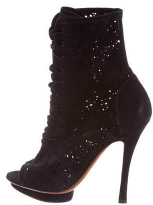 Santoni Laser Cut Ankle Boots Black Laser Cut Ankle Boots