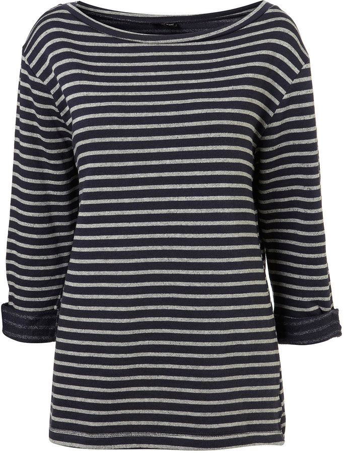 Navy Oversize Breton Stripe Sweat Top