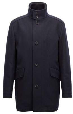 BOSS Hugo Relaxed-fit car coat in virgin wool & cashmere 38R Dark Blue