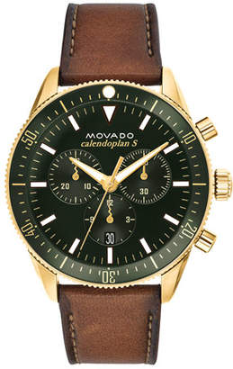 Movado Men's Diver Chronograph Watch with Leather Strap & Green Dial