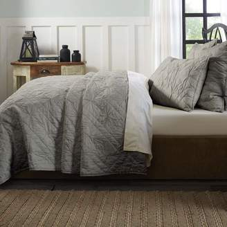 Ashton & Willow Smoke Grey Farmhouse Bedding Aubree Cotton Pre-Washed Pleated Solid Color Queen Quilt