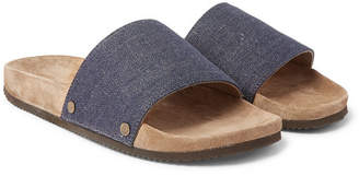 Brunello Cucinelli Denim And Suede Slides