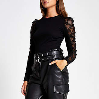 River Island Black lace long sheer puff sleeve T-shirt