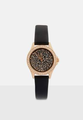 Missguided Black and Rose Gold Faux Leather Strap Watch, Black