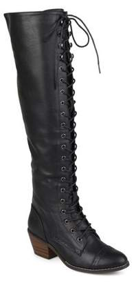 Co Brinley Womens Faux Leather Over-the-knee Lace-up Brogue Boots