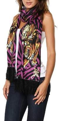 Ed Hardy Womens Skull Knit Scarf - Purple/Black