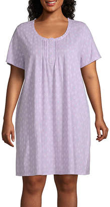 Adonna Womens Nightgown Short Sleeve Scoop Neck
