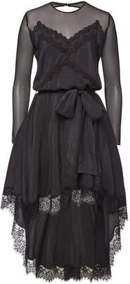 Faith Connexion Silk Dress with Lace and High-Low Hem