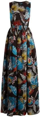 Mary Katrantzou Shaw feather-jacquard gown