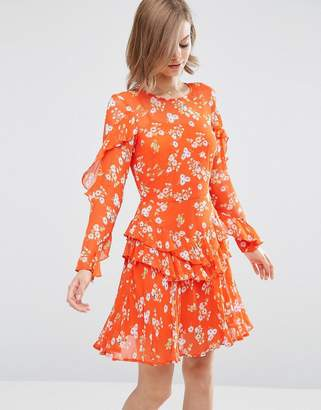 Asos Ruffle Tea Dress in Red Floral Ditsy Print