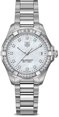 Tag Heuer Aquaracer 300M Quartz Stainless Steel Watch with Bezel Diamonds, 32mm