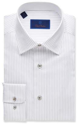 David Donahue Men's Regular-Fit Striped Dress Shirt, Gray