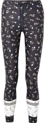 The Upside Cropped Floral-print Stretch Leggings - Midnight blue