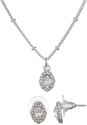 Lauren Conrad Simulated Crystal Halo Necklace & Nickel Free Earring Set