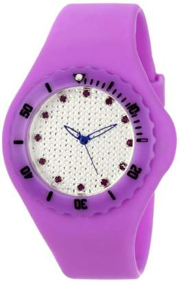 TKO ORLOGI Women's TK596PR Beach Pave Lightweight Purple Rubber Watch