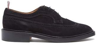 Thom Browne Longwing Stacked Sole Suede Brogues - Mens - Black