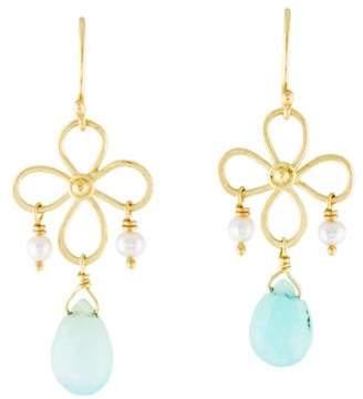 18K Pearl & Opal Drop Earrings