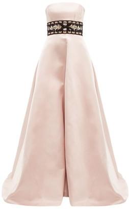 Prada Crystal Waistband Silk Satin Gown - Womens - Pink Multi