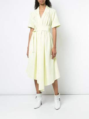 ADAM by Adam Lippes Moire Short Sleeve V-Neck Asymmetrical Dress With Belt