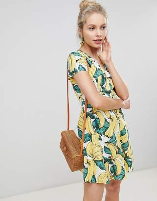 Glamorous Button Down Tea Dress In Banana Print
