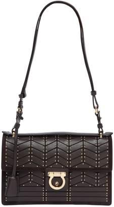 Salvatore Ferragamo Aleen Studs Leather Shoulder Bag