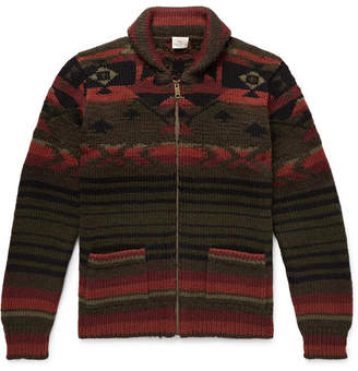 Faherty Winter Woods Shawl-Collar Wool-Blend Jacquard Zip-Up Cardigan