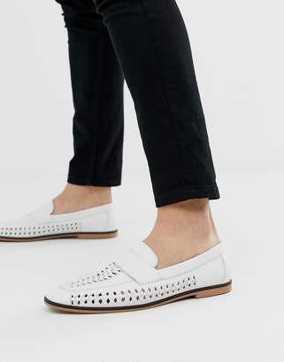 Asos Design DESIGN loafers in woven white faux leather with tassel detail