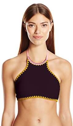 Jessica Simpson Women's Woodstock Whipstitch Reversible High Neck Halter Bikini Top