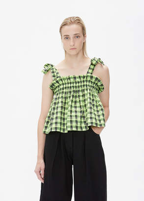 Ganni Seersucker Check Crop Top