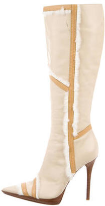 Casadei Fur-Trimmed Knee-High Boots $130 thestylecure.com