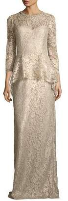 Rickie Freeman For Teri Jon Lace Applique Long Peplum Three-Quarter Sleeve Gown