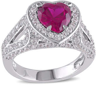 FINE JEWELRY Heart-Shaped Lab-Created Ruby and Lab-Created White Sapphire Sterling Silver Ring