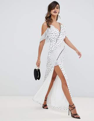 The Jetset Diaries Zoey multi spot ruffle maxi Dress
