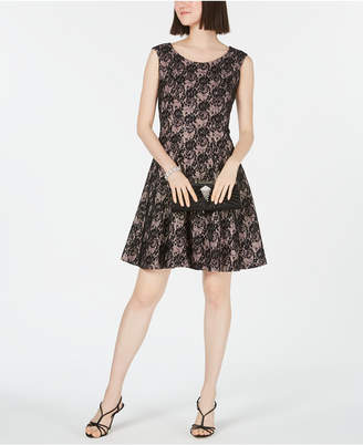 INC International Concepts I.n.c. Sequined Lace Fit & Flare Dress