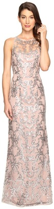 Adrianna Papell - Sequin Lace Sleeveless Halter Gown Women's Dress $189 thestylecure.com
