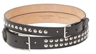 Alexander McQueen Double Buckle Studded Leather Belt - Womens - Black