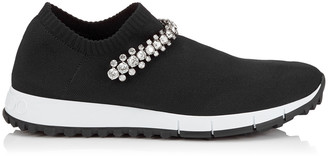 Jimmy Choo VERONA Black Knit Trainers with Crystal Detailing
