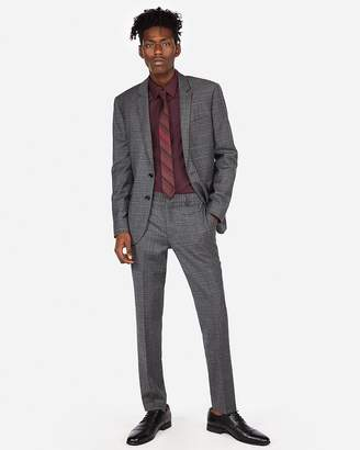 Express Extra Slim Textured Plaid Wool-Blend Stretch Suit Pant