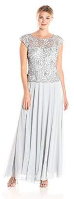 J Kara Women's Cap Sleeve Embroidered Gown with Scallop Edging, Silver