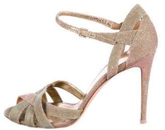 Gianvito Rossi Metallic Peep-Toe Sandals