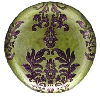 "Red Pomegranate DAMASK 6.5"" GREEN PURPLE CANAPE PLATE"