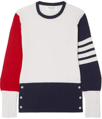 Thom Browne Color-block Cashmere Sweater - White