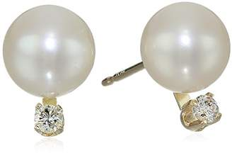 Bella Pearl Chinese Freshwater Cultured Pearl 6-6.5mm Diamond Stud Earrings